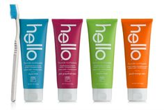 We are so excited about this new brand of toothpaste, from hello products! Not just because of its colorful packaging and delicious flavors, but also because it uses naturally friendly ingredients! Getting our kids to brush their teeth is no longer a problem with flavors like Green Apple, Bubble Gum and Blue Raspberry.