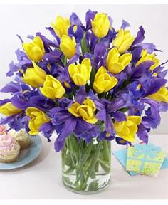 48 best purpleblue and yellow event images on pinterest flower the 1800 flowers happy happy easter bouquet upgrades a simple happy easter to twice the joy with bright yellow tulips and bold blue irises this striking mightylinksfo