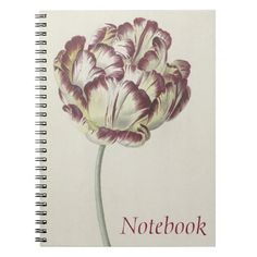 Vintage design with a white, yellow and red tulip Spiral Notebook / Photobook #DutchArt