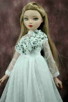 "Handmade ellowyne wilde 16"" doll outfit polka dot rose white dress gown"