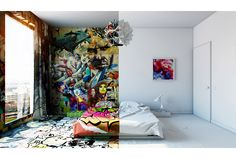Pavel Vetrov Envisions an Artistic Interior for a Half-Painted Hotel Room