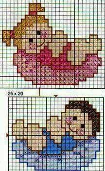 Boy and girl Cross Stitch Cards, Cross Stitch Baby, Cross Stitching, Cross Stitch Embroidery, Cross Stitch Designs, Cross Stitch Patterns, Broderie Simple, Diy Bebe, Pixel Pattern