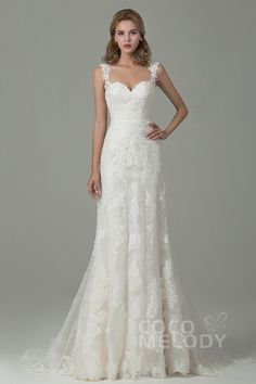 Fabulous Sheath-Column Straps Natural Train Lace Ivory/Champagne Sleeveless Backless Wedding Dress with Appliques CWVT15002
