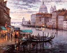 Crossing the Grand Canal [Henderson Cisz-A365] - $500.00 painting by oilpaintingsartmaker.com