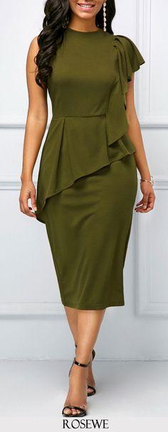 Army Green Back Slit Ruffle Detail Dress