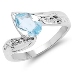 Malaika 1.30 Carat Genuine Topaz .925 Sterling Silver Ring (Size-6, ), Women's