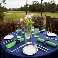 #blue wedding table ... Navy tablecloth and green napkins ... Wedding ideas for brides, grooms, parents & planners ... https://itunes.apple.com/us/app/the-gold-wedding-planner/id498112599?ls=1=8 ... plus how to organise your entire wedding ... The Gold Wedding Planner iPhone App ♥