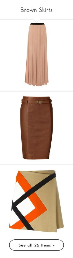 """""""Brown Skirts"""" by eternalfeatherfilm on Polyvore featuring skirts, bottoms, saias, maxi skirts, sand, maxi skirt, long skirts, long chiffon skirt, pleated maxi skirt and red skirt"""