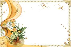 yellow frame png | Transparent Gold Frame with Yellow Roses