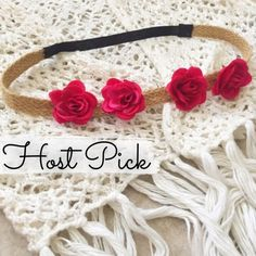 HP Floral Headband Handmade with love by yours truly • Cute addition to any boho chic outfit! • Headband is made of braided brown shabby twine & stretchy black elastic  WINTER WISH LIST 1/31/16☃❄️ Accessories Hair Accessories