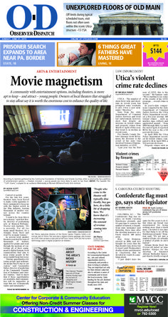 The front page for Sunday, June 21, 2015: Movie magnetism