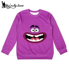 [You're My Secret]Autumn New  High Quality  Moleton Women Hoodies  Monsters University  Print  Deep Purple Pullovers Sweatshirts