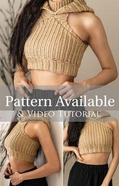 Crochet Halter Tops, Crochet Crop Top, Crochet Blouse, Cute Crochet, Crochet Hoodie, Crotchet, Crop Top Pattern, Hoodie Pattern, Diy Clothing