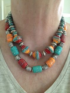 Beautiful necklace by Kathy Todd with my Southwest Summer beads!