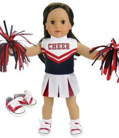 18 Inch Doll Cheerleading Set 4 Pc. Set by Sophia's, Fits 18 Inch American Girl Doll Clothes & More! Pom Poms, 4 Piece Red & Navy Cheer Outfit & Doll Sneaker Shoes Red/Navy Sophia's http://www.amazon.com/dp/B00BL66RZ4/ref=cm_sw_r_pi_dp_fQwewb1BKVH1F