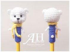 Crochet Pencil Topper Cute Bear