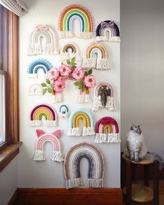 tpys photography and The Most Beautiful Pictures at Pinteres It is one of the … – homedecor – weberei Yarn Crafts, Diy And Crafts, Arts And Crafts, Rainbow Room, Rainbow Wall, Macrame Wall Hanging Diy, Ideias Diy, Macrame Design, Macrame Patterns