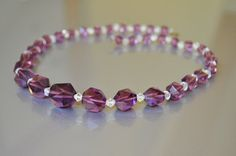 REDUCED Vintage Necklace Crystal Glass Bead by ClassicKarma, $45.00