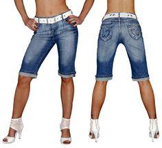 "super trendige Damen Bermuda-Jeans ""A9009"" Strass Jeans Short S&LU Gr.: 34- 46 Jeansblau 40"