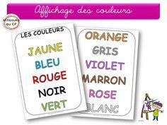 Suite à l'adaptation des étiquettes des jours pour la maternelle, j'ai adapté aussi l'affichage des noms des couleurs ! J'espère que ça servira ;-)