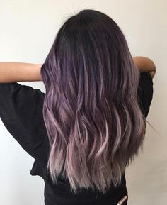 20 Breathtaking Purple Ombre Hair Color Ideas Purple hair has become one of the biggest trends in the scene. Here are few breathtaking purple ombre hair color ideas for you to to try at home. Lilac Hair, Hair Color Purple, Hair Dye Colors, Cool Hair Color, Color Black, Lavender Grey Hair, Silver Purple Hair, Ombre Color, Purple Hair Dyes