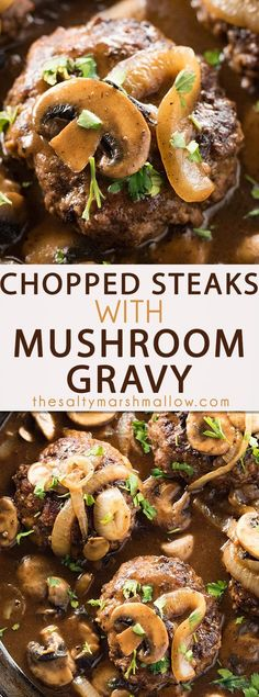 These chopped steaks are an easy weeknight dinner! Easy Chopped Steaks and Gravy - Easy to make chopped steaks that are ready in 30 minutes and whipped up in only one pan! These mouthwatering hamburger steaks are coated in a delicious, savory, mushroom brown gravy!