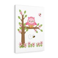 GIRL NURSERY ART Owl Tree Canvas Baby Wall Print Decor Woodland Animals Room Owl Nursery Decor, Woodland Animal Nursery, Woodland Animals, Nursery Wall Art, Girl Nursery, Baby Prints, Wall Art Prints, Canvas Prints, Owl Tree