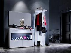 Garderobenkombination Rubin II 3tlg. Hochglanz Weiß Klare moderne Möbellinie Passend zur Möbelserie Rubin Kombination bestehend aus: 1 x Schuhschrank mit 2 Türklappen aus...