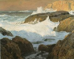 This is a photo of the Edgar Payne painting titled Raging Surf, Laguna.