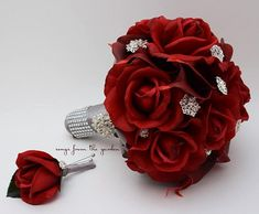 Red Roses Calla Lilies & Rhinestones Bridal Bouquet Real Touch Deep Red Callas Red Roses Groom's Boutonniere - Wedding Bouquet Boutonniere
