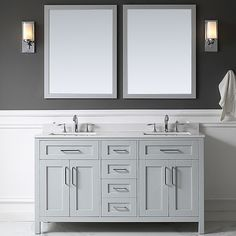 """Found it at AllModern - Tahoe 60"""" Double Bathroom Vanity Set with Mirror in Dove Gray"""