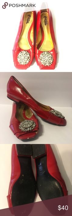 """HaliBob Peep Toe """"Stella"""" Red Patent Leather Flats Good condition. Small nick on bottom of peep toe part but nothing a dash of red nail polish wont fix! So cute with slim pants, pencil skirts, capris, dress up or dress down. Thanks for looking! Hale Bob Shoes Flats & Loafers"""