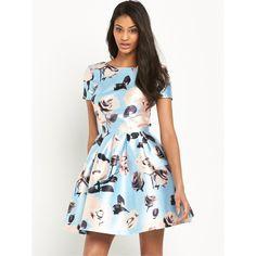 Chi Chi London Rose Print Full Skater Mini Dress ($72) ❤ liked on Polyvore featuring dresses, white evening dresses, cocktail dresses, skater dress, holiday dresses and white flare dress