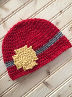 Handmade Crochet Fireman Firefighter Hat by CandylandCrochetShop