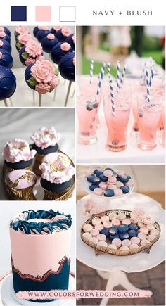 navy blue and blush pink wedding color ideas wedding weddingcolors weddingideas bluewedding Blue And Blush Wedding, Pink Wedding Colors, Blush Pink Weddings, Blue Weddings, Wedding Flowers, Wedding Navy, Dream Wedding, Gender Party, Baby Gender Reveal Party