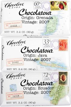 Chocolove's Chocolatour bars create a sense of adventure as each chocolate bar lets consumers explore cocoa from a specific origin.  The packaging helps bring this to life through the graphic maps and postage stamps.