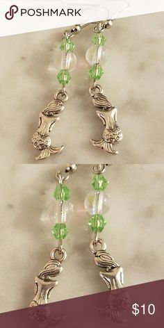 Mermaids & Crystals Bright green Swarovski Crystals and lovely little mermaid charms on silver plated Nickel Free earing hooks. Allergen free.  Magen's Fairytale Creations original handmade by me Magen's Fairytale Creations  Jewelry Earrings