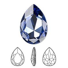 Faceted pear fancy rhinestone tanzanite foil back