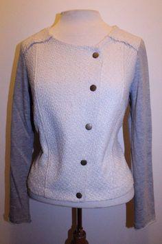 Monteau Coat M Cream Gray Contrast Tweed Blend Moto Jacket #Monteau #Motorcycle
