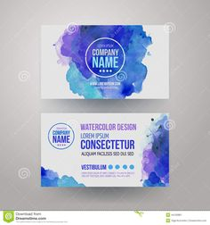 Vector Template Watercolor Business Cards - Download From Over 40 Million High Quality Stock Photos, Images, Vectors. Sign up for FREE today. Image: 44150881