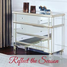 The mirrored and antique silver combination on this contemporary accent table will bring a smile to your face every time you pass by. The reflective surfaces add a depth of sparkle and drama to your room and the spacious drawers are the perfect dose of fu Modern Furniture Stores, Mirrored Furniture, Wholesale Furniture, Attic Rooms, Home Accents, Luxury Homes, Dining Table, Flooring, Cabinets