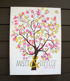 "Thumbprint Tree on Stretched/Wrapped Canvas - Wedding Guest Sign in - 16"" x 20"". via Etsy."