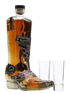 A gift set containing a bottle of Texano Reposado Tequila, presented in a cowboy boot and a pair of shot glasses to share it from. A great gift for any western fan.