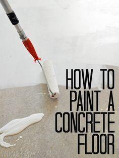 How To Paint Concrete Floors Tutorial @ Vintage Revivals | Home Decor Ideas