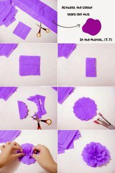 DIY - Crepe Paper Flower for Room Decoration Crepe Paper Crafts, Paper Flowers Craft, Crepe Paper Flowers, Flower Crafts, Diy Flowers, Diy Paper, Recycled Crafts, Diy Crafts, Flower Making