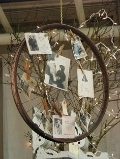 Pretty use of old wheel & clothespins...