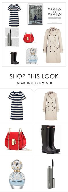 """""""Striped dress + Trench"""" by gabriela2105 ❤ liked on Polyvore featuring L.L.Bean, Burberry, Hunter, Balmain, Marc Jacobs and MAC Cosmetics"""