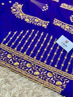 Hand Embroidery Design Patterns, Hand Work Embroidery, Embroidery Suits Design, Designer Blouse Patterns, Embroidery Motifs, Hand Work Blouse Design, Simple Blouse Designs, Bridal Blouse Designs, Blue Bridal