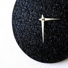 Modern Black Clock, Black Glitter, Home and Living, Reclaimed Art, Home Decor, Black Star Clock, Decor and Housewares, Unique Wall Clock