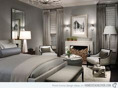 Michael Abrams Limited This monochromatic palette creates a dramatic yet soothing feel. The gray and silver combination is nothing but pure sophistication and luxurious style.